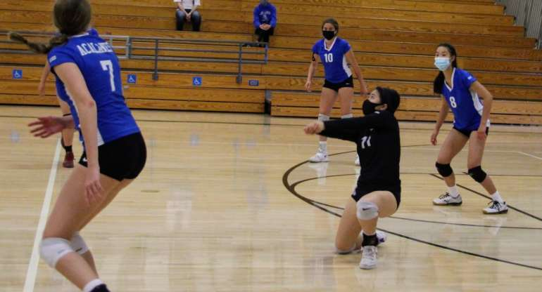 JV Girls Volleyball Maintains First Place Tie in League After Win Over Miramonte