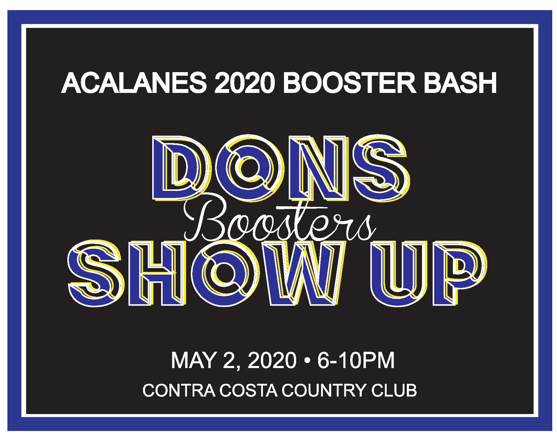 Save the Date – Booster Bash May 2, 2020 at Contra Costa CC!